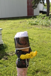 My niece, Isabel, finds the bees fascinating.